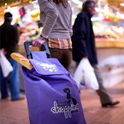 жінка із сумкою на колесах